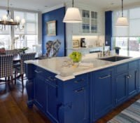 Beautiful kitchen remodel with blue cabinetry in a kitchen remodel by Sunnyfields Cabinetry.