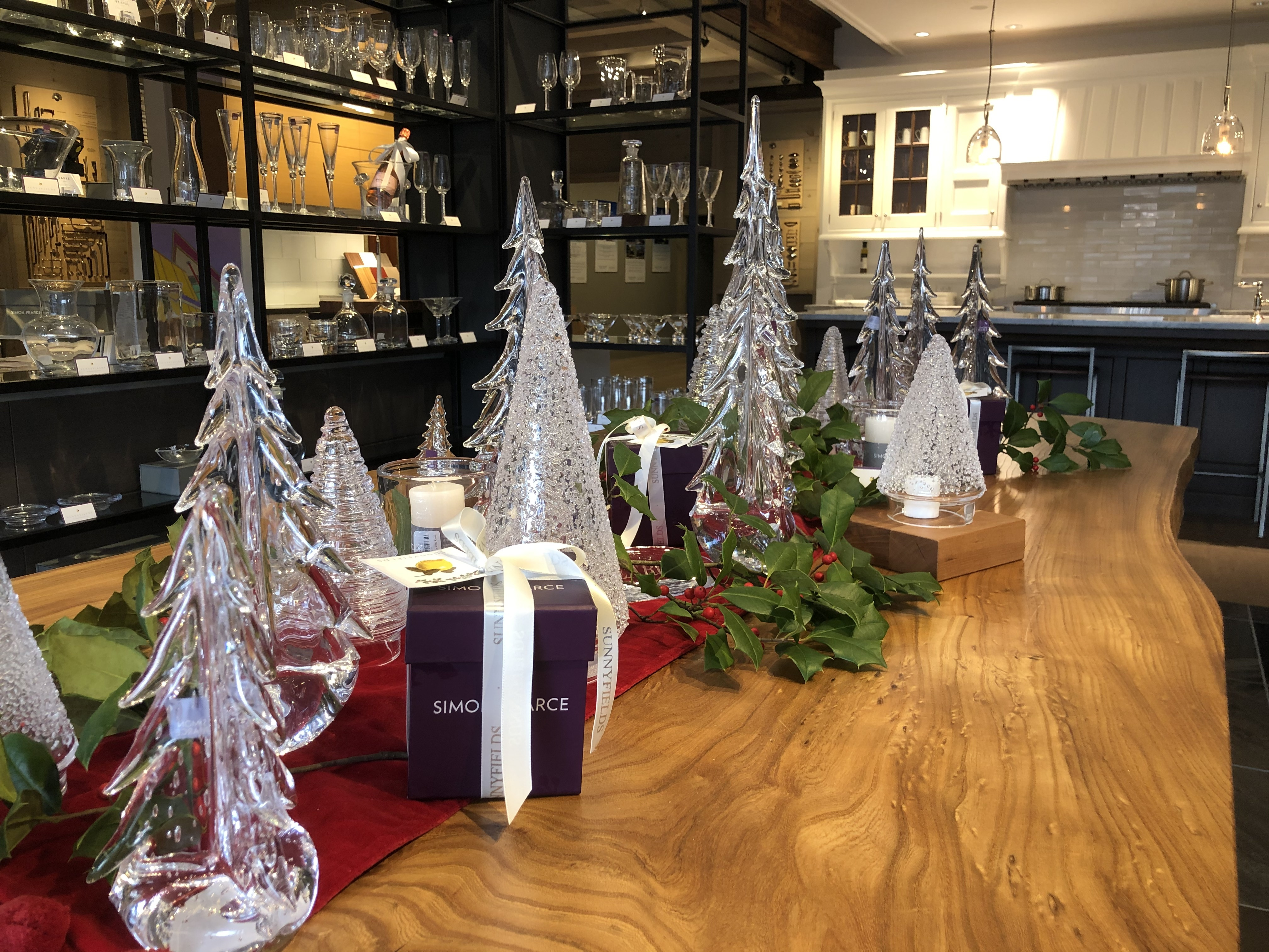 Simon Pearce Wintergreen trees at Sunnyfields Cabinetry showroom
