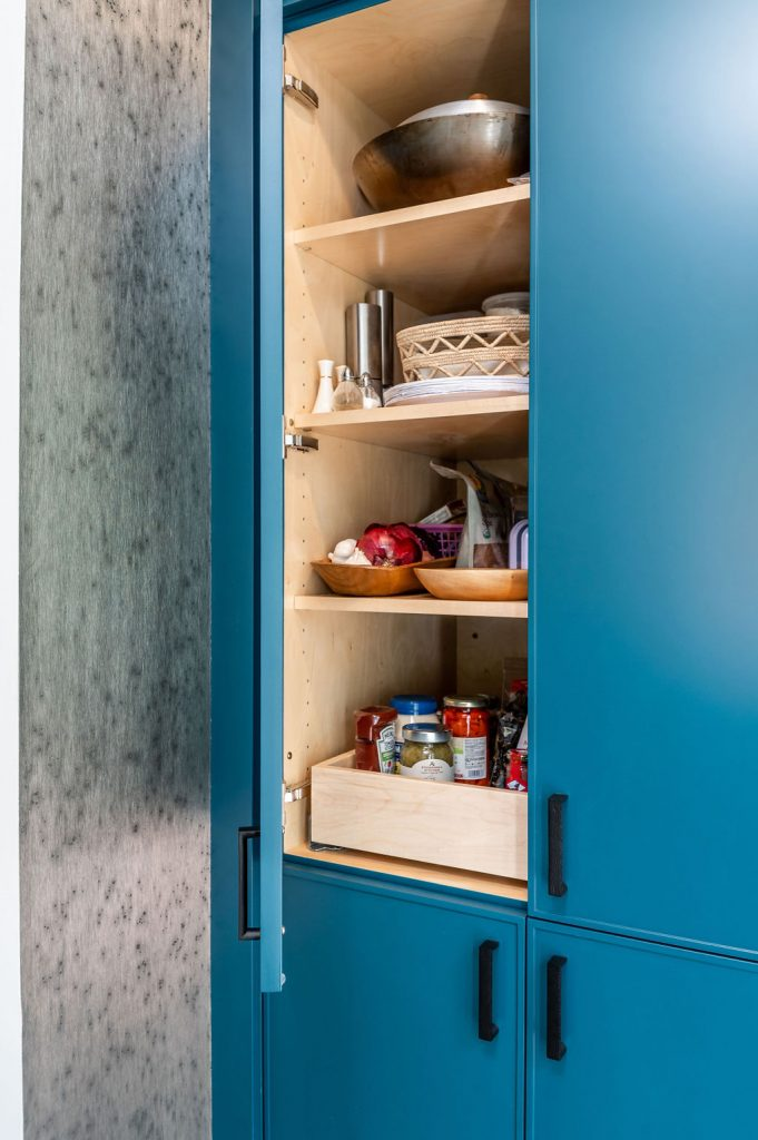 Transitional blue custom cabinetry