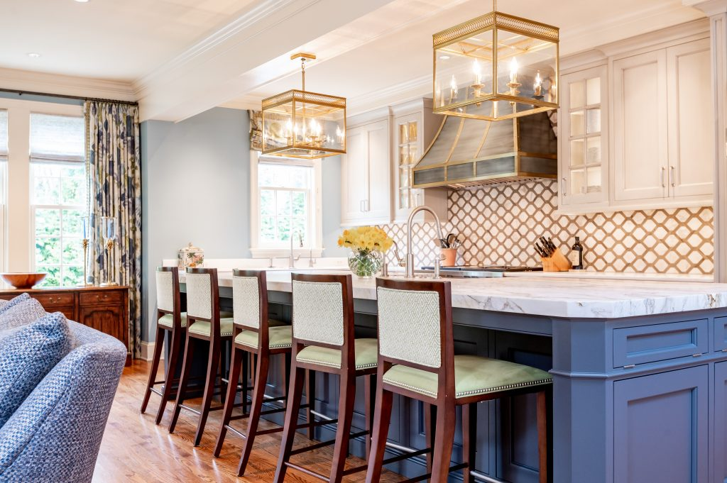 Transitional kitchen island, blue, with marble countertops