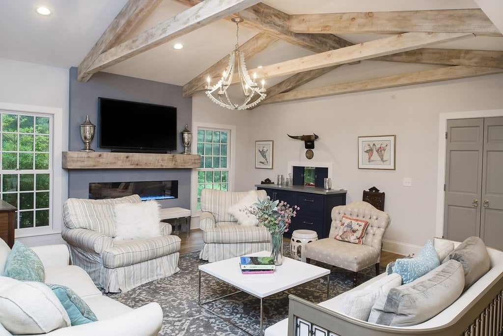 Transitional/Rustic family room with TV (Different angle)