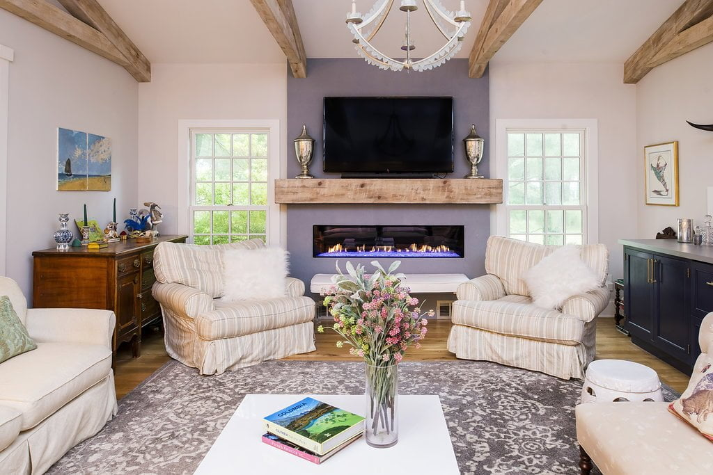 Transitional/Rustic family room with TV
