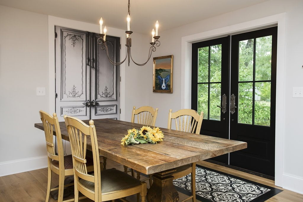 Rustic dining room set with black exterior backdoors (Zoomed in)