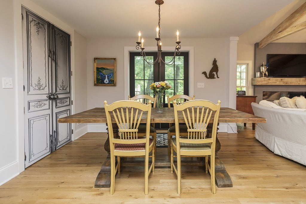 Rustic dining table and chairs, dark wooden table, light hardwood flooring