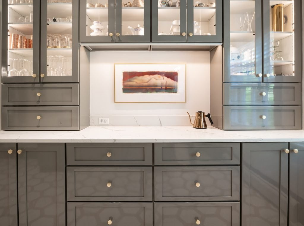 Custom grey cabinetry and marble countertops (zoomed in)
